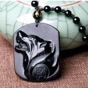 Harga Obsidian Carving Wolf Head Pendant Necklace Blessing Lucky Necklace