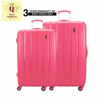 "Harga Royal McQueen QTH 6907 Polypropylene 4 Wheels Spinnner Hard Case Luggage Pink (20+ 24"") Pink"