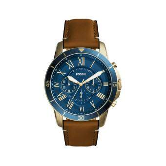 Harga Fossil Men Grant Sport Chronograph Brown Leather Strap Watch FS5268