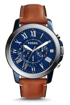 Harga Fossil Men's FS5151 Grant Chronograph Blue Dial Light Brown Leather Watch (Blue, Silver & Light Brown)