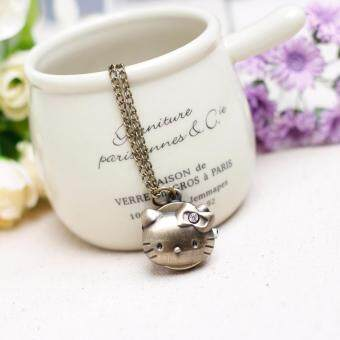 Harga FANCICO Vintage Antique style kitty cat Pocket Watch Necklace
