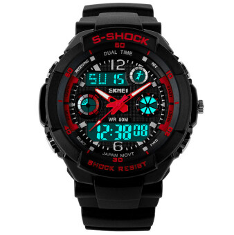 Harga SKMEI S-Shock Sports Waterproof LED Digital Watch (Red)