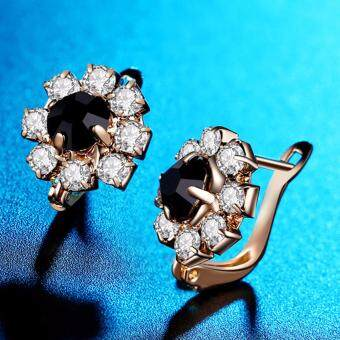 Harga Hequ New Earings fashion silver jewelry gold plated Flowers flash black crystal stud earrings Personalized earrings for
