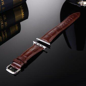Harga GAKTAI Unisex Replacement Leather Buckle Wrist Watch Strap Band Belt for iWatch Apple Watch 38MM - Brown