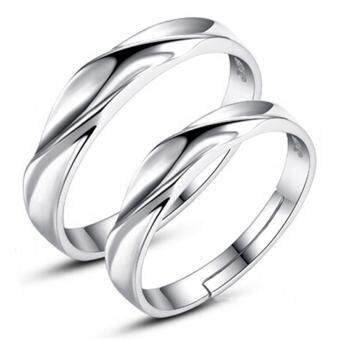 Harga Silver Adjustable Couple Rings Jewelry Affectionate Lovers Rings E008