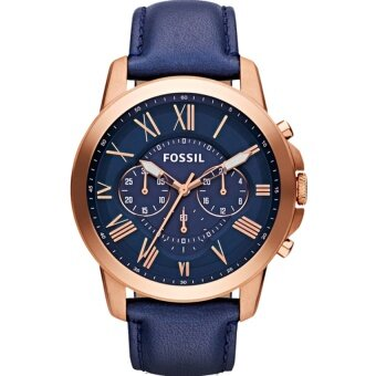Harga Fossil Men's Grant Chronograph Navy Leather Watch FS4835
