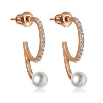Harga Vivere Rosse Elena Pearl Earrings (Rose Gold)