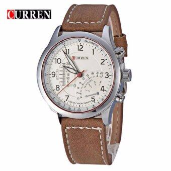 Harga Curren 8152 Men's Brown Leather Strap Watch - Silver White