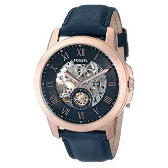 Harga Fossil Men's ME3054 Grant Three-Hand Automatic Leather Watch - Navy Blue