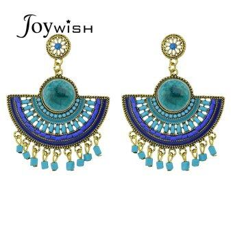 Harga Joywish Bohemia Style Colorful Beads Fan Shape Big Chandelier Earrings