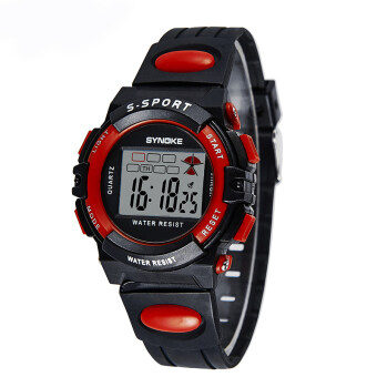 Harga New Causal Fashion Children Kids Boy and Girls Alarm Waterproof Sports Watches-Black with Red