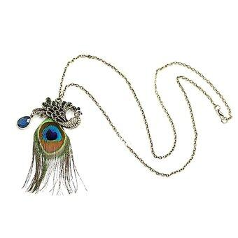 Harga Women Fashion Chinese Wind Blue Peacock Wonderful Long Peacock Feather Necklace Collar Jewelry Choker