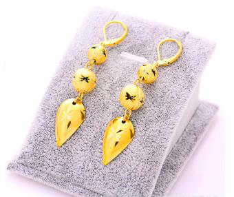 Harga 24K Gold Plated Lucky Ball Drop Earrings