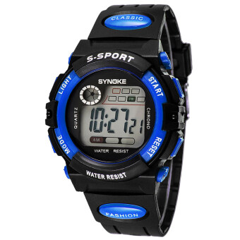 Harga Best Sale Children Boy and Girl's Waterproof Sports Wrist Watches-Blue