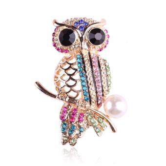 Harga FANCICO Multicolored Rhinestones Colorful Owl Brooch Pin