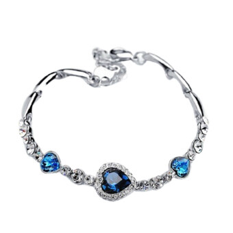 Harga Hequ The Heart Of The Ocean Of Love Zircon Crystal Bracelets Bangle (Blue)