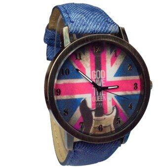 Harga The Union Jack UK Flag Round Dial Wrist Watch Blue