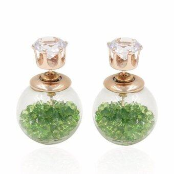 Harga FANCICO Crystal Ball Women Bubble Earrings Double Sided Green crystal