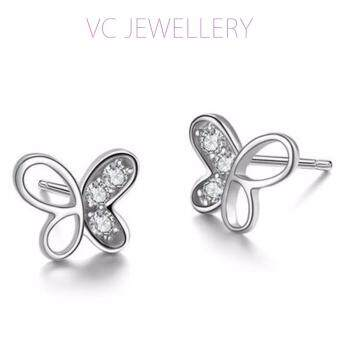 Harga Platinum Plated Butterfly Earrings