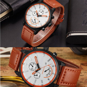 Harga 2016 Best Quality TTLIFE Luxury Brand Men's Casual&Business Leather Band Waterproof Quartz Wristwatch(orange)