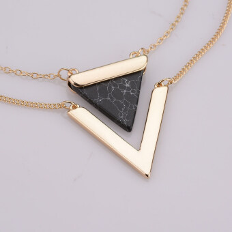 Harga Women Vintage Jewelry Gold Plated Punk Necklaces Geometric Triangle Faux White Turquoise Bilayer Pendant Necklace Black