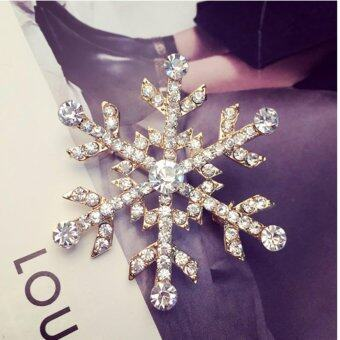 Harga FANCICO Pretty Snowflake Flower Clear Rhinestone Crystal Brooch