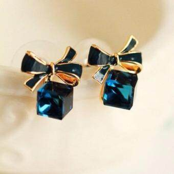 Harga FANCICO Butterfly Blue Cubic Crystal Precious Earrings Jewelry