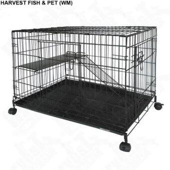 Harga Petzoo Pet C366 2-Level Cat Cage With Wheels (36 Inch x 22 Inch x 28 Inch) - Black