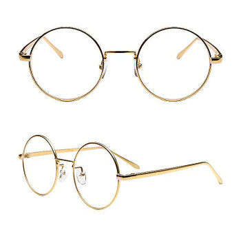 Harga vintage Lady's Golden Round metal frame Transparent plano lenses Sunglasses Mirror Sun Glasses Women Eyewear with Box HZ080