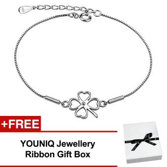 Harga YOUNIQ Lucky Clover 925 Sterling Silver Bracelet
