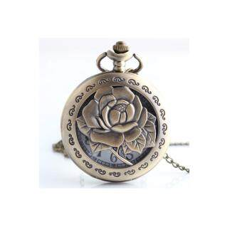 Harga FANCICO Antique Bronze Pocket Watch Hollow Rose Flower Engraved