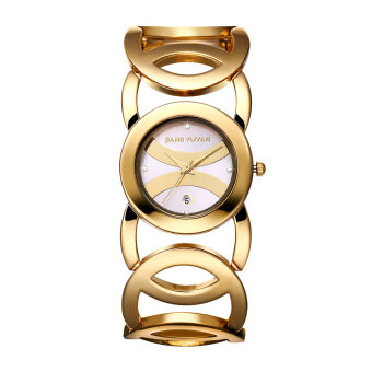 Harga Women watch in jewellery waterproof watches Luxury Full Gold Alloy Quartz Wristwatches With Date Function bracelet watch 380801(White)