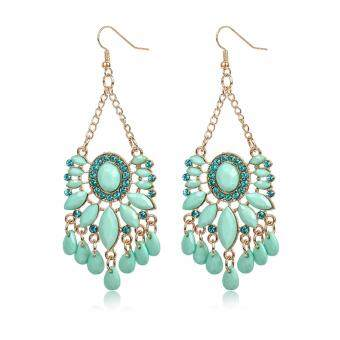 Harga FANCICO Exaggerated earrings blue crystal tassel drop earrings