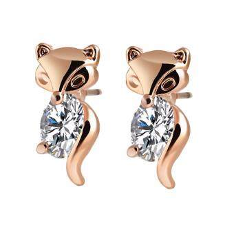 Harga Hequ new chic Classic Animal Fox Stud Earrings Alloy Plated Silver Gold Crystal Earring Gold(Silver)