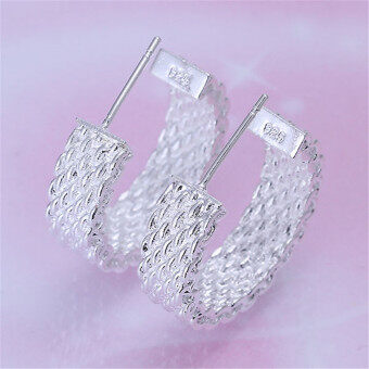 Harga Buytra Women Chic Silver Plated Earings Charm Net Weaving Stud Earings Vintage Jewelry Silver