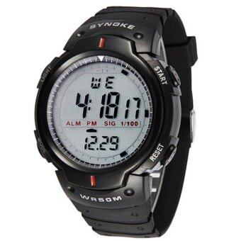 Harga Synoke LED Sports Military Watch 30M Water Resistant Stopwatch Week Alarm Date Waterproof Digital Watch (Black)