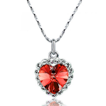 Harga La Vie Jewelry Silver Plating Zircon Lucky Hearts Necklace (Red)