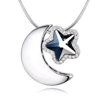 Harga LOVENGIFTS Swarovski Moon And Star Pendant Necklace