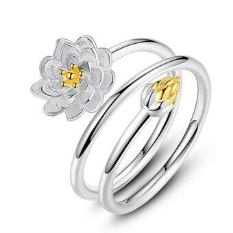 Harga OH Simple Lotus Flower Ring Charming Finger Rings Women Wonderful Wedding Jewelry Silver