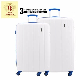 "Harga Royal McQueen QTH 6907 Polypropylene 4 Wheels Spinnner Hard Case Luggage (20+ 24"") White"