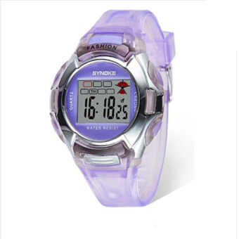 Harga Synoke 99329 PU Leather Strap Round Dial LED Display Digital Watch Students Wristwatch (Purple)