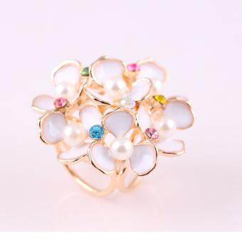 Harga FANCICO Elegent Fancy Crystal Floral Petal Three-ring Pattern Scarf Buckle Brooch