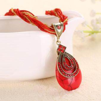 Harga Red gem pendant ornament Bohemian national wind necklace retro jewelry