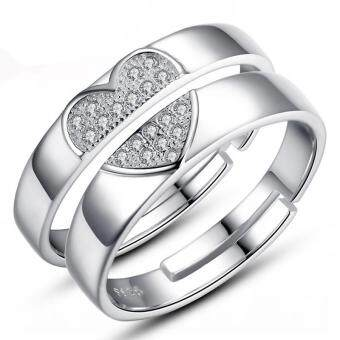 Harga 2 PCS Adjustable Rings Couple Rings Jewellry 925 Silver Adjustable Lovers Rings E026