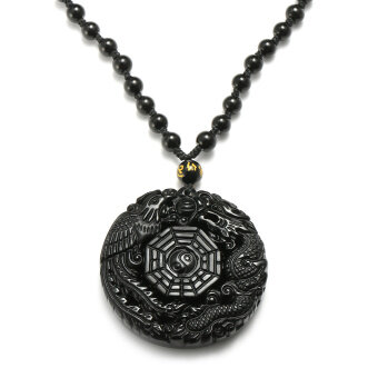 Harga Natural Obsidian Carved Chinese Dragon Phoenix BaGua Lucky Pendant Necklace