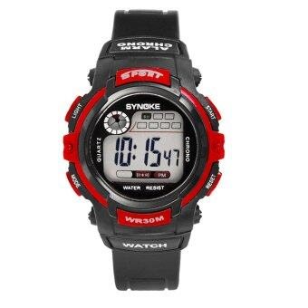 Harga Children Sports Water-Proof Watch Night Light Electronic Watch-Red