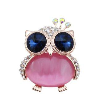 Harga FANCICO Fashion Rhinestone crown opal Owl Brooch