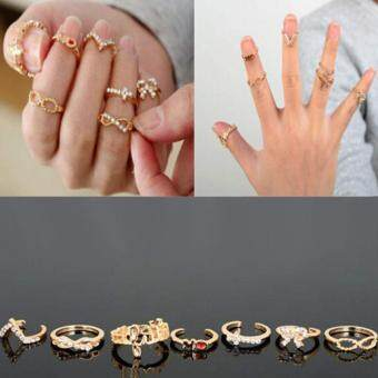Harga Women 7pcs Rings Jewelry Glasses Bow Cross 8V Crystal Rings