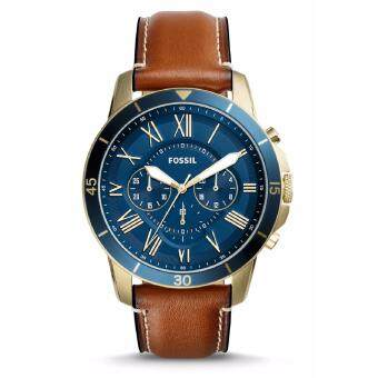 Harga Fossil Men's FS5268 Grant Sport Chronograph Luggage Leather Watch (Gold & Brown)