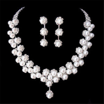 Harga Wedding Bridal Prom Crystal Rhinestone Pearl Necklace Earrings Jewelry Set